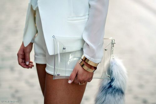 Clear latex clutch + faux fox-tail keychain.