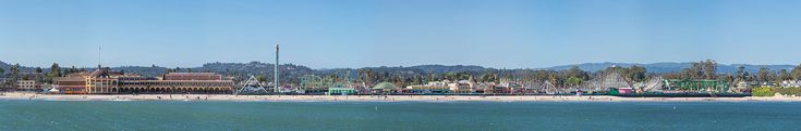 A panoramic view of the Santa Cruz Boardwalk from the pier