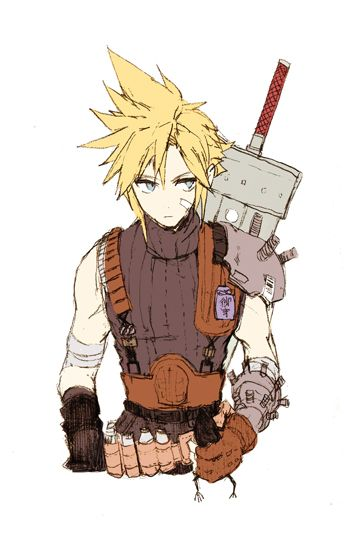 I really like how Cloud looks in this picture. I love the emo and the adorkable as much as anyone, but there isn't enough fanart of fakepersonality!Cloud.