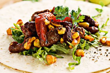 Sweet corn and beef burritos