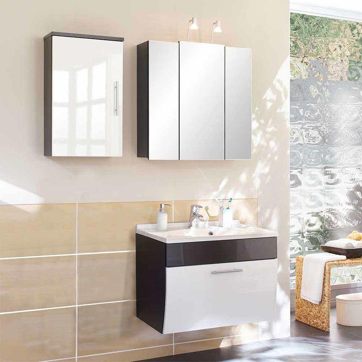 Badezimmermöbel Set In Anthrazit Weiß Hochglanz Kaufen (3 Teilig) Jetzt  Bestellen Unter: