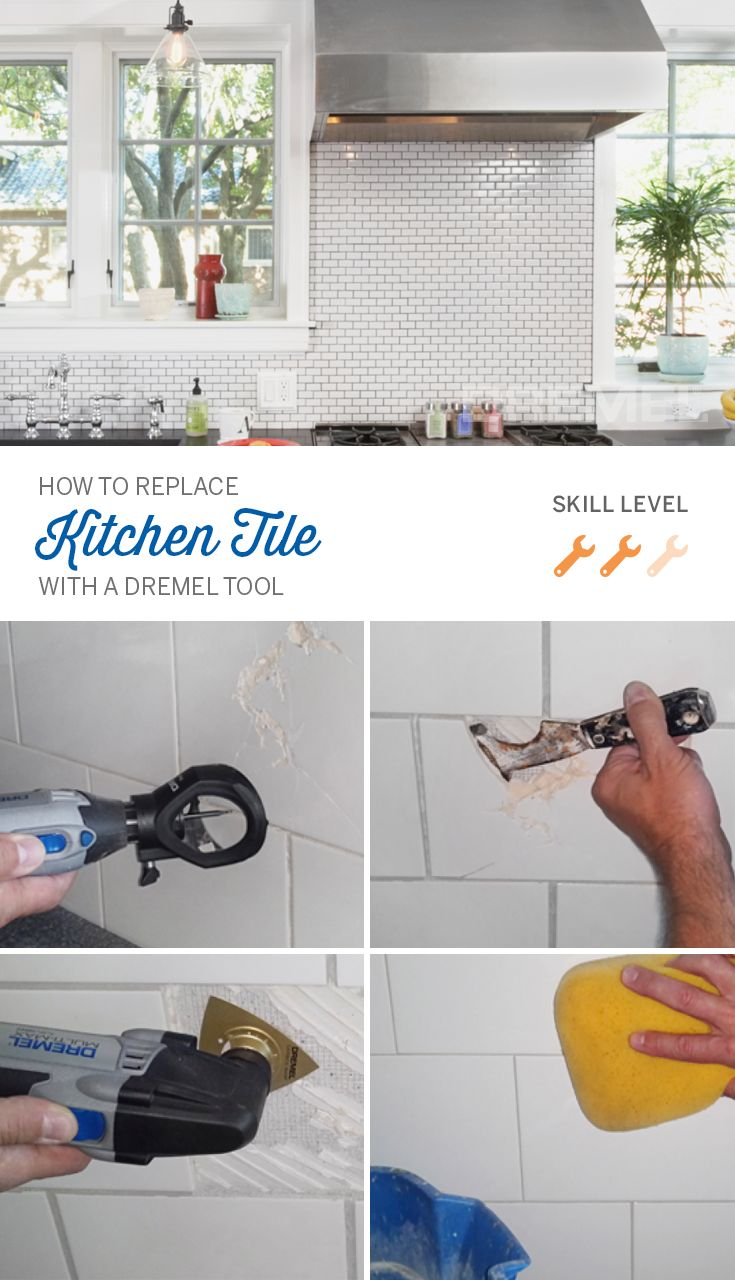 To replace tile, first you have to remove grout from tile. Your Dremel tool can help you remove grout and do other home improvement projects too, like installing outlets.