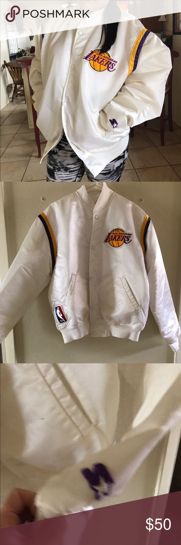 Throwback vintage Starter NBA Lakers jacket💜💛 Original starter jacket from the 90's. Lakers bomber jacket. It is in very good condition just needs to be dry cleaned. Small pen mark in top right front corner. Starter Jackets & Coats Bomber & Varsity