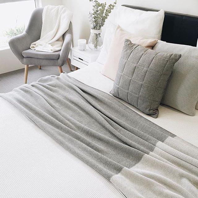 Lovely bedroom by @megcaris | #kmart White waffle doona