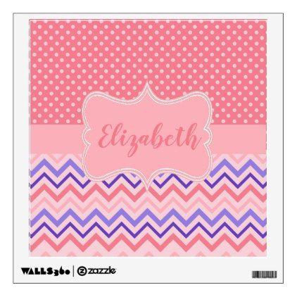 Polka Dot Zig Zag Personalized Name Pink Purple Wall Sticker - walldecals home decor cyo custom wall decals