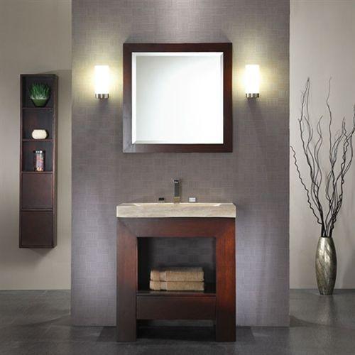 Purus 30 Inch Bathroom Vanity Dark Walnut Finish Half Bath