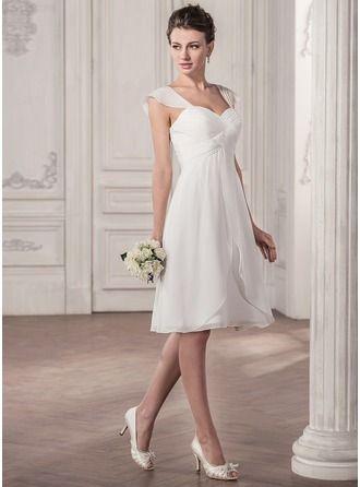 Forme Princesse Bustier en coeur Longueur genou Mousseline Robe de mariée avec Plissé