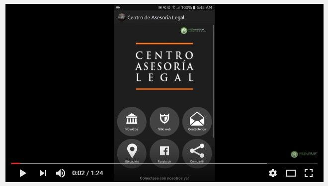 Video Demo App - Centro Asesoria Legal http://nessware.net/video-demo-app-centro-asesoria-legal/ Descubra cómo el Centro de Asesoría Legal utiliza su App Movil   - Video Demo App - Un puente de comunicación personal entre el mercado meta y el negocio...