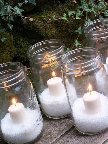Epson salt in a mason jar w/ a candleHoliday, Decor Ideas, Winter, Epsom Salts, Mason Jar Candles, Christmas Candles, Christmas Decor, Mason Jars Candles, Diy Christmas