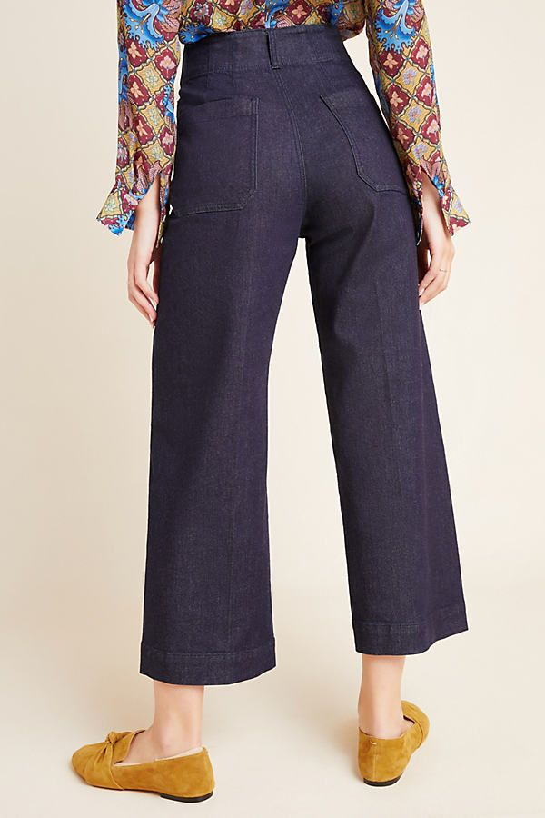 Capra Wide-Leg Denim Trousers by Anthropologie in Blue Size: 30, Women's Pants 2