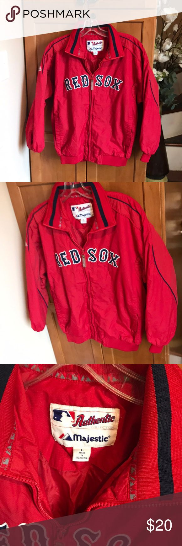 Like new Boys Red Sox jacket size L Boys majestic red zip up warm Red Sox jacket size Large, no rips or stains, just like new! Majestic Jackets & Coats