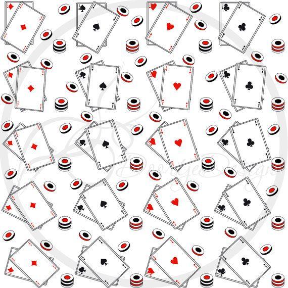 Casino Digital Papers Blackjack set Card game by DoortjeDesign