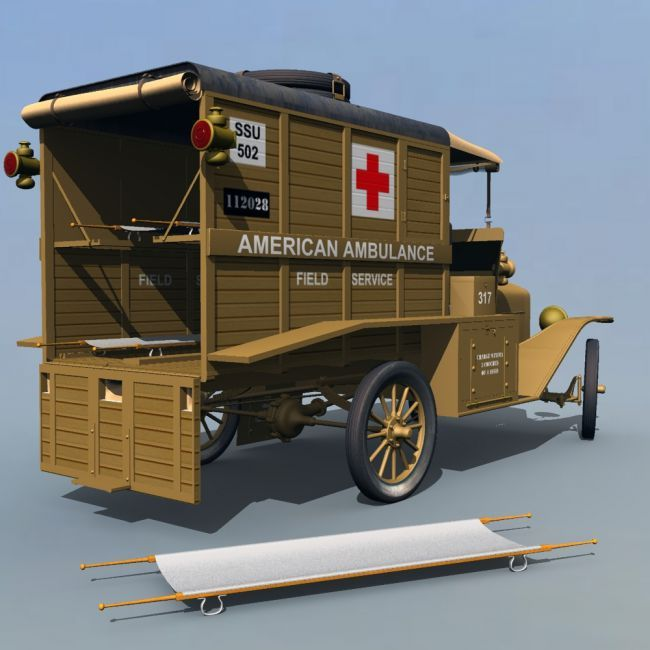 Ford T Ambulance 1918 Extended License Transportation For Poser And Daz Studio Ambulance American Ambulance Ford
