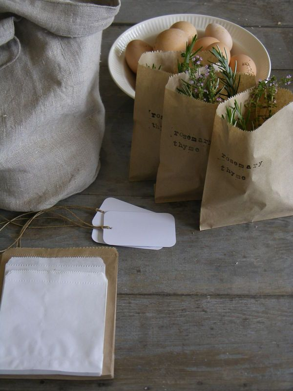 Favors? fresh herbs in paper bags (sage, rosemary, and thyme... I'd include parsley but it would wilt fast than the others.)