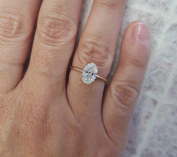 Oval Diamond Engagement Ring 1 51 Carat Oval Shape 18k Rose Oval Diamond Engagement Ring Fine Engagement Rings Diamond Engagement Rings