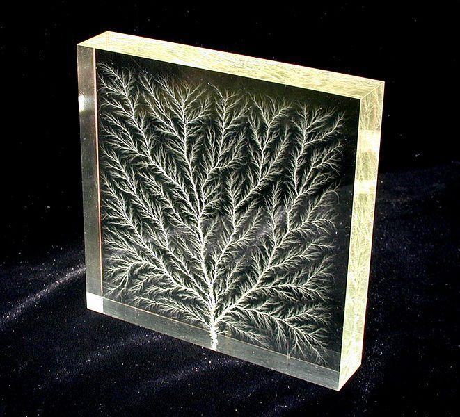 Trees: Lichtenberg figure: high voltage dielectric breakdown in an acrylic polymer block