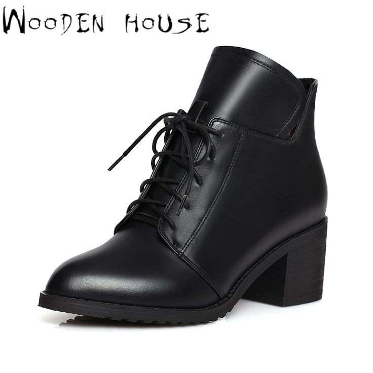 Женщины Кожа Ботильоны Модельер Платформа Британский Стиль Высокие Каблуки Зашнуровать Короткие Сапоги Женщина Осень Зима Теплая Обувь купить на AliExpress