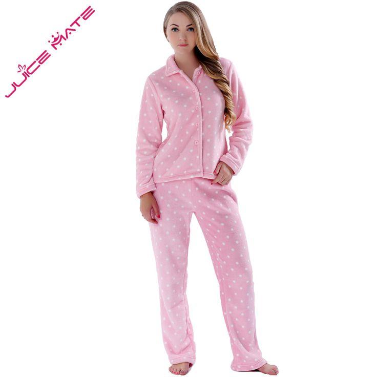 JUICE MATE Women Sleepwear Spring Autumn Warm Coral Fleece Plus Size Pink Pyjama Suit Nightwear 2 Pieces Pajama Set For Ladies