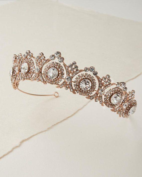 Vintage Inspired Antique Silver Gold Or Rose Gold Wedding Tiara