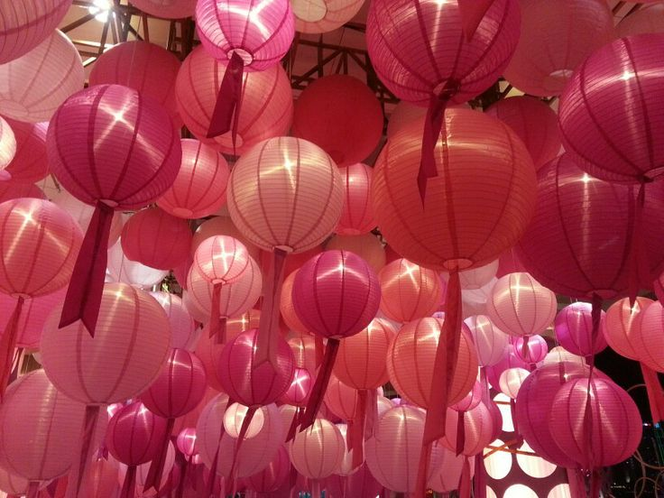 Pink lanterns Harbor City Mall, Tsim Tsa Sui, Hong Kong