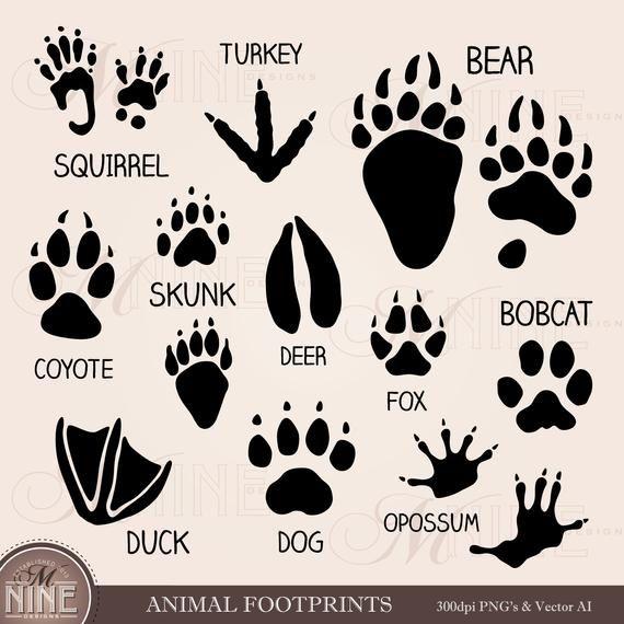 Animal Footprints Clip Art Paw Marks Clipart Downloads Etsy Animal Footprints Clip Art Twig Art