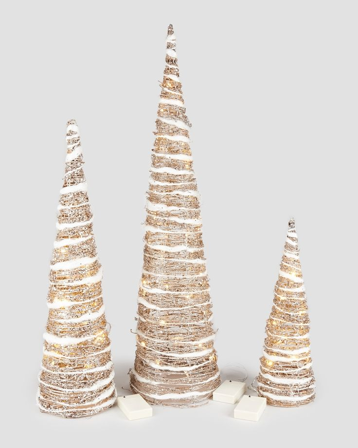 Gold Glitter Led Cone Trees Add Some Sparkle To Your