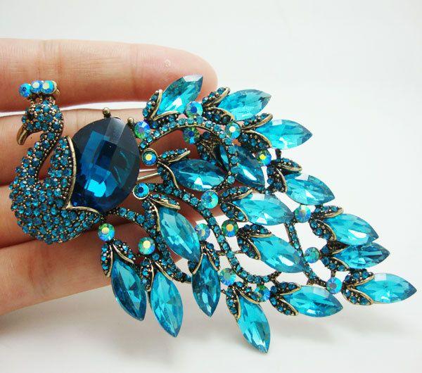 Aliexpress.com: Koop Klassieke vogel pauw blauw kristal art nouveau vergulde broche van betrouwbare broche goud leveranciers op TTjewelry