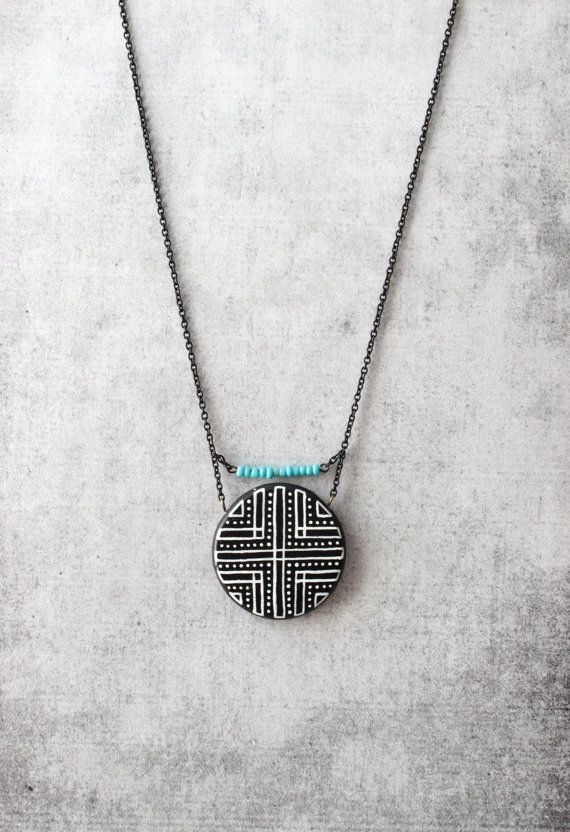Black geometric necklace for her urban style round shaped geometric pendant unique gift Handmade & one of a kind accessories and jewelry by DannaGart