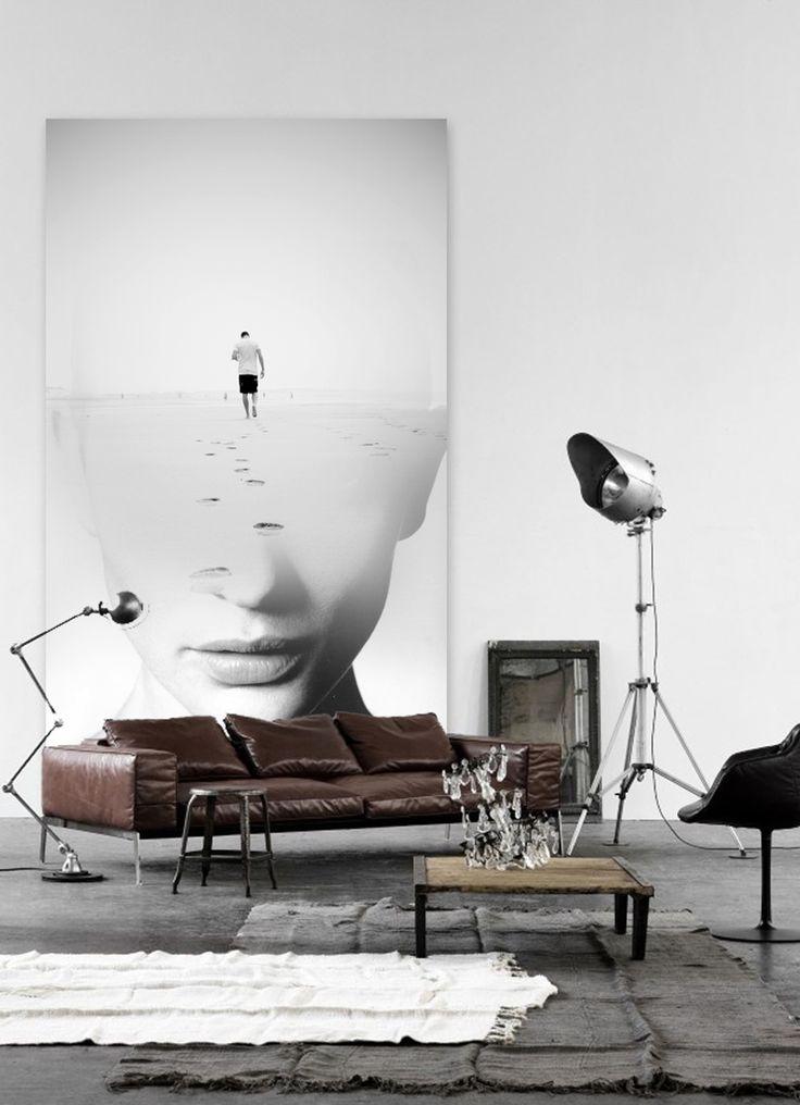 """Antonio Mora artworks - """"Bye"""", printed vinyl over cardboard 220x90. collage sobre viejos tablones de madera o vinilo . # Decoración # casa # diseño . Para solicitar información: pil4r@routetoart.com"""