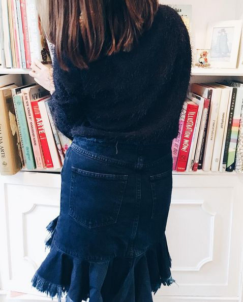 Weekend reading with Marques'Almeida Asymmetrical Denim Skirt and Pedro Neto Jumper