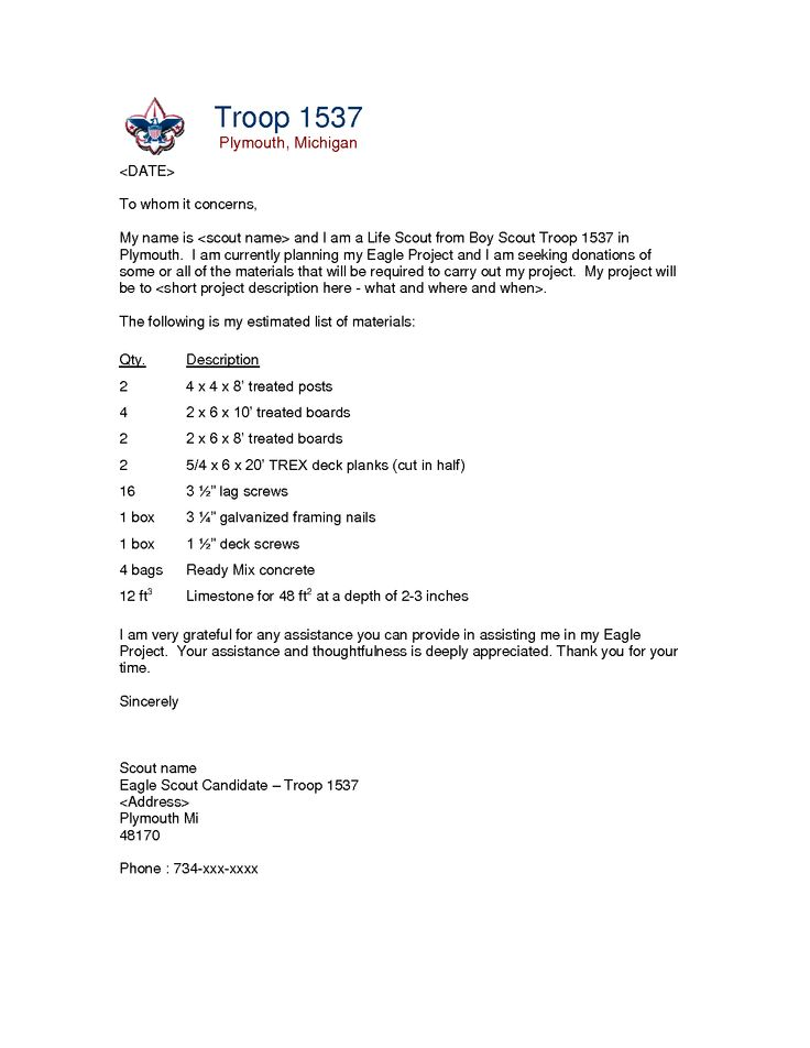 Eagle Scout Request Letters Examples