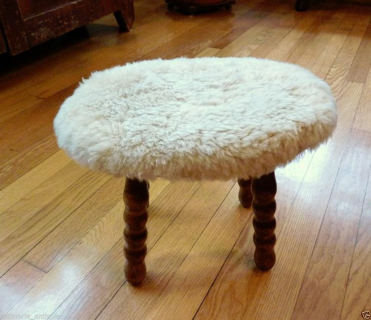 SHEARLING FOOT STOOL Cricket Bench Rest SHEEP Wool Junior Achievement Wood US #LawrenceLeathersJuniorAchievement