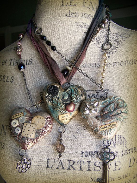 Mixed media necklaces.