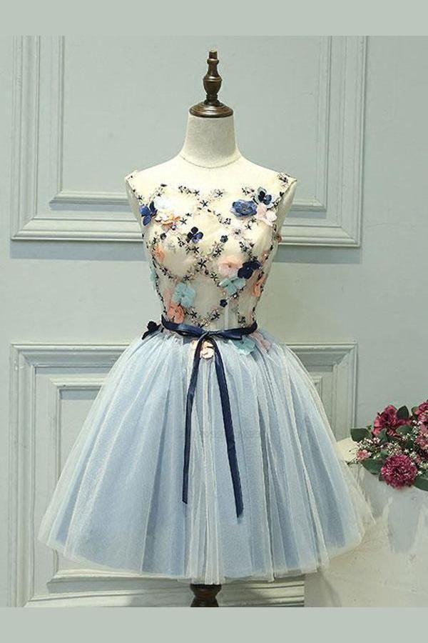 Personalizado Comely vestido de baile curto, uma linha de vestido de baile, sem mangas vestido de baile   – Vestidos elegantes