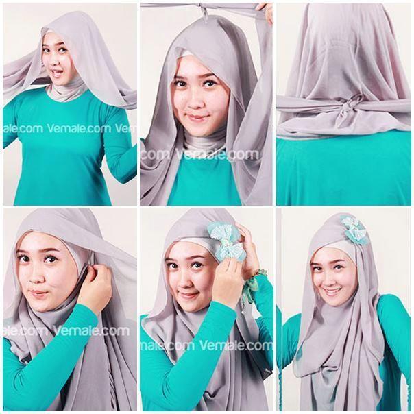 Tutorial Hijab Pashmina Chiffon Polos