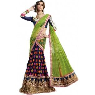 Latest Wedding Green Half and Half Wedding Saree with Blouse