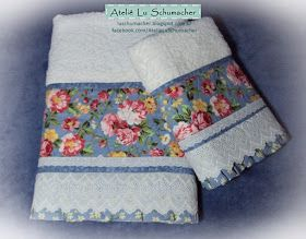 Jogo de toalhas com barrado em patchwork