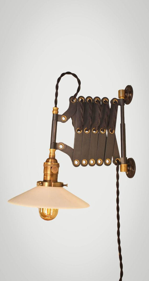 Vintage Industrial Scissor Lamp - Scissor Sconce - Expandable Accordion Lamp - Steampunk Light - Medical Machine Age Pulley Antique Cord