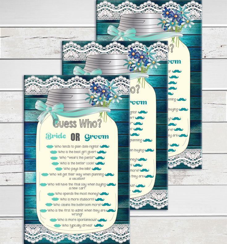 games to play at couples wedding shower%0A Guess Who Bridal Shower game  Great for Couple u    s showers and Engagement  parties too  Questions in a mason jar with a rustic wood background and  flowers tied