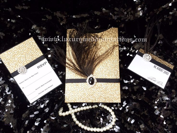 The Great Gatsby Luxury Pebble Bubble Embellishment Feather Crystal Wedding Pocket Invitations, A Set Of 100 by luxuryweddinvitation on Etsy