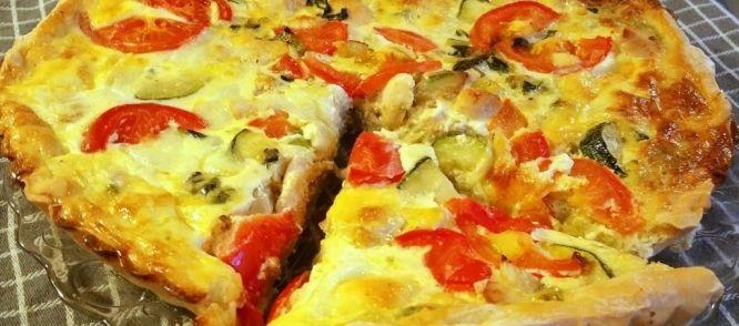 Een lekkere quiche met Italiaanse smaken zoals basilicum, tomaten en Mozzarella.