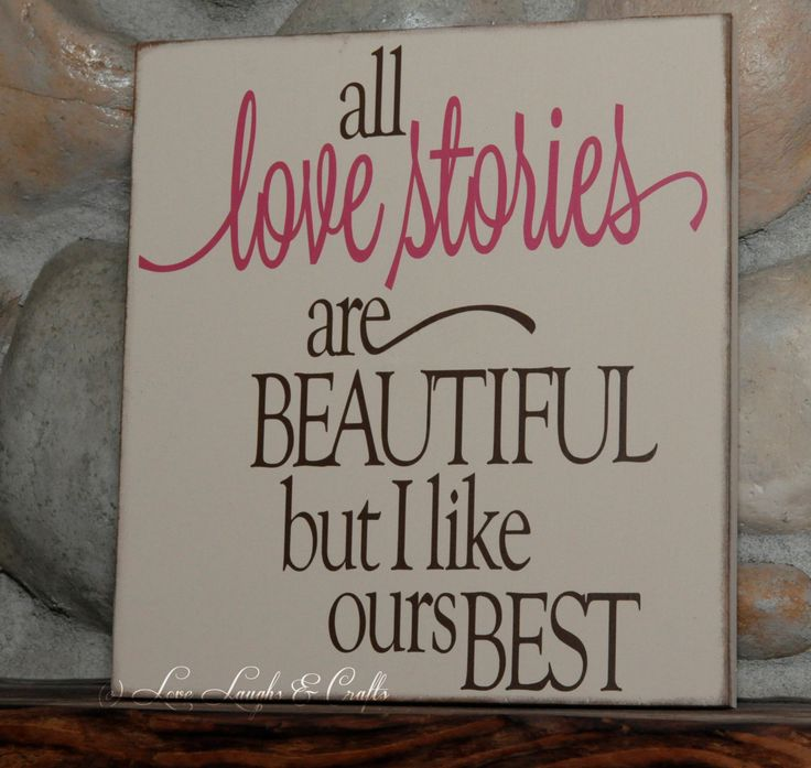 All Love stories are beautiful wood sign, sign for her, rustic sign, vinyl sign, vinyl wall art. $30.00, via Etsy.