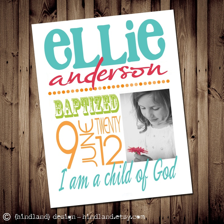 DIY Printable LDS Baptism Subway ART  -  8x10 Art Print - Personalized for your child. $3.99, via Etsy.