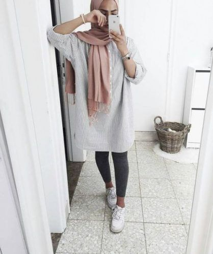 neutral shirt dress hijab- Neutral hijab outfit ideas http://www.justtrendygirls.com/neutral-hijab-outfit-ideas/