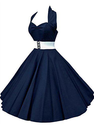 VKStar®Robe Rétro Chic Style Halter Sans Manche Vintage années 1950s Audrey Hepburn Robe de Soirée/Cocktail Femme Rockabilly Swing Bleu…