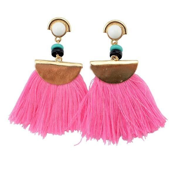 Spice up any outfit with these boho tassel hot pink earrings. Material: Alloy mental color : gold