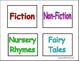 Labels: Book Genres (set 1) - Fiction, Non-Fiction, Nursery Rhymes, Fairy Tales. Useful for cubbies/baskets. 4 labels to a page.
