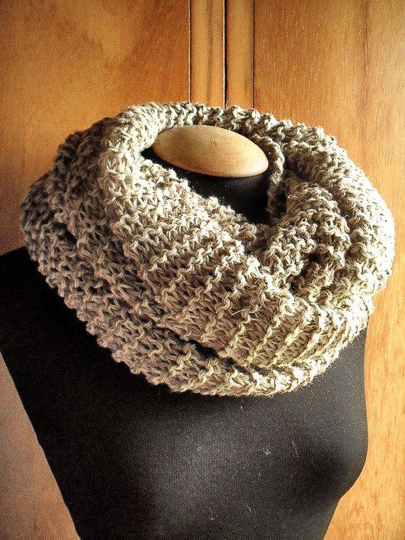 sciarpa infinity, scialle, sciarpa ad anello per uomini, donne, bianco ed ecru, trama grossa ma leggere e calda, elegante in colori neutri