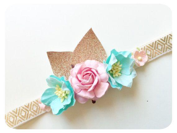 Baby girl headband gold headband Pink flower by AllureDesignsAU