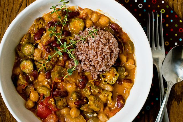 Okra Gumbo with Chickpeas & Kidney Beans | Comfort Food | Pinterest ...